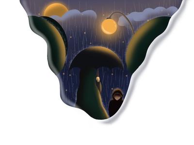 Rain at Night procreate art procreateapp procreate mystery dark rainy rain character art gradient vector illustration design
