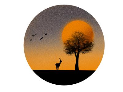 Sunset procreate animal orange vector illustration sunset