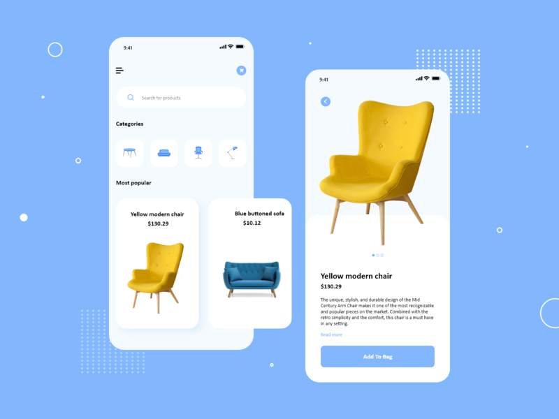 Furniture e commerce mobile app shop shopping app ecommerce ecommerce app minimal lamp table chairs mobile design mobile ui mobile app furniture uiux ux ui