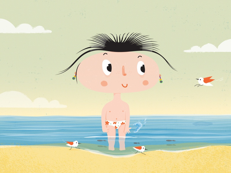 character design - summer time cute beach summer vector vector illustration illustrator illustration