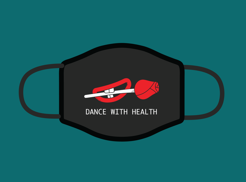 Dance with Health awesomemerch illustrator rose flower 2color vector flat-design illustration