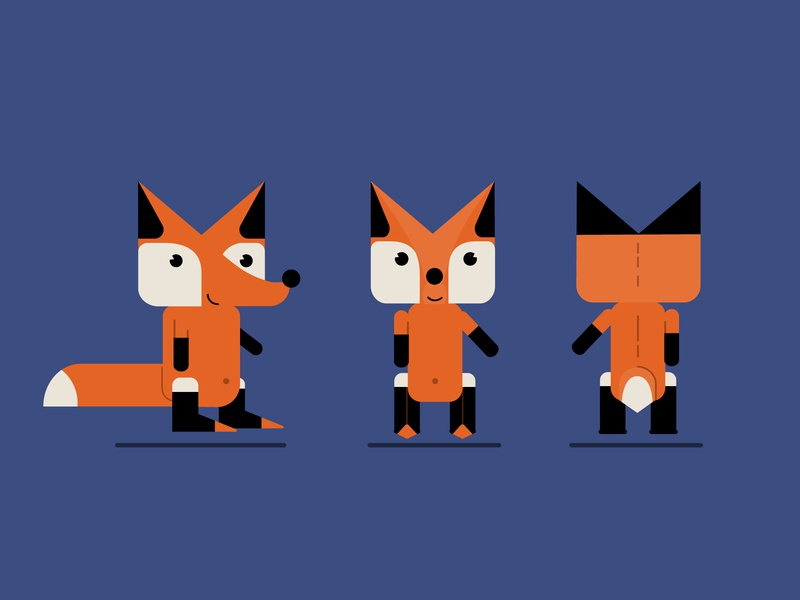 Fox - character Model sheet poses vector art vector illustration illustration art illustrator fox model-sheet flat-design illustration