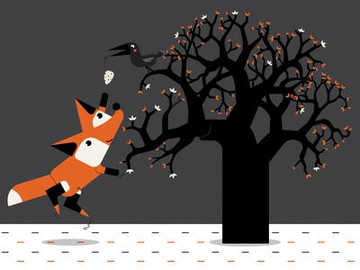 Foxi fox & Crow fable crow flat-design vector art fox illustrator illustraion