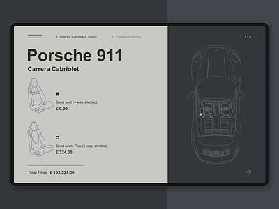 Porsche 911 Configurator Concept dailyui033 dailyui challenge configurator carrera 911 porsche ipad dark car