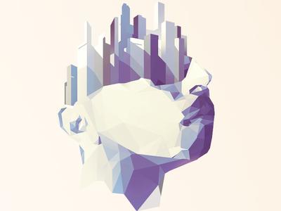 Rethinking cities portrait skyline city polygons illustration vector