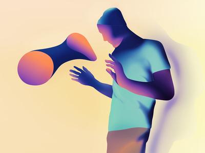 mediate minimalist illustrator characters shading illustration vector