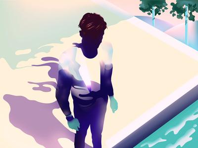 bath minimalist swim pool illustrator characters shading illustration vector