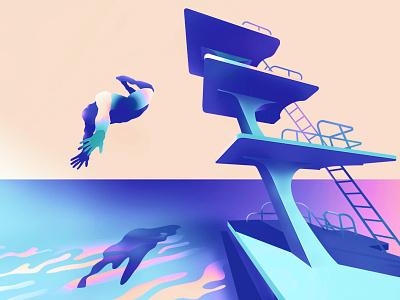 dive minimalist architecture illustrator characters shading illustration vector