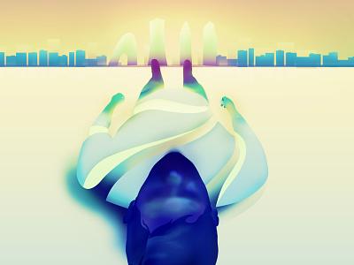 skyline minimalist illustrator characters shading illustration vector