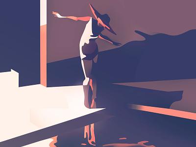 pool minimalist illustrator retro ambient light characters shading illustration vector