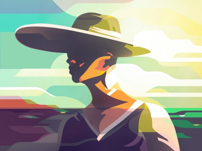 sunset minimalist illustrator characters shading illustration vector