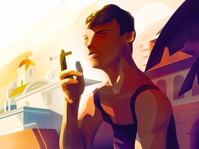 san remo ambient light sunset italy vintage illustrator illustration vector