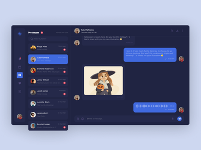 Chat/Messenger - Web App clean design creative  design dark theme user experience dark app dark ui interface dashboard ui dashboard ux webdesign ui web app design web app message chatting chat app messanger