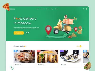 Food Delivery Website Design vector ux ui illustration interface web design creative  design delivery website delivery app food app food delivery food deliver