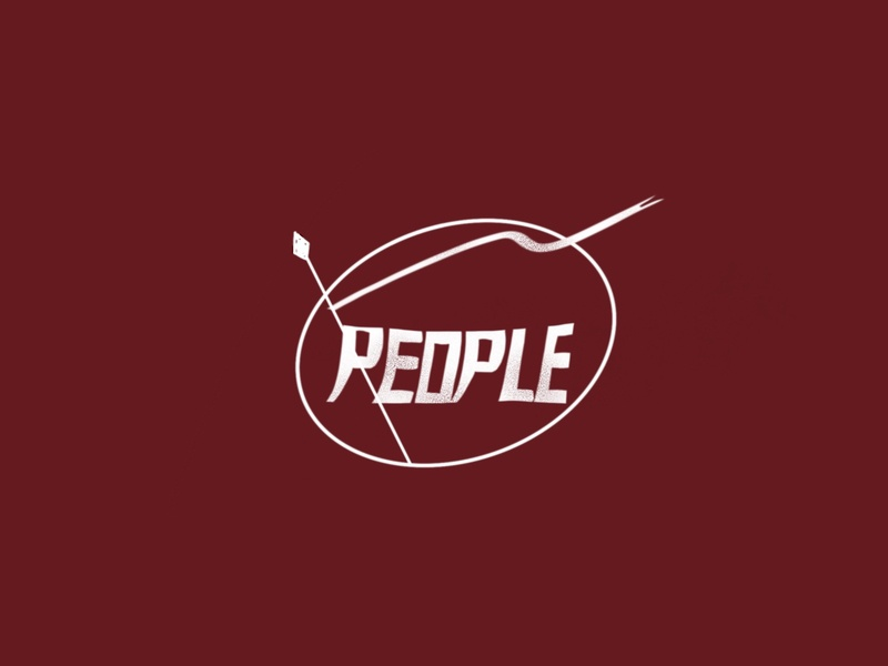 People Marching calligraphy typography vector illustration logo