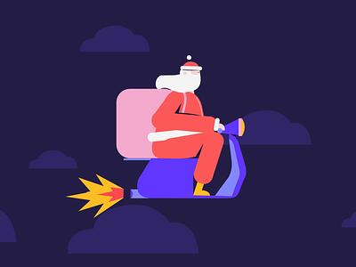 Cruisin' Santa illustration motion animation ui characterdesign