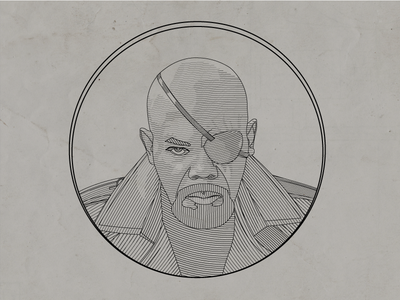 Nick Fury Line Illustration
