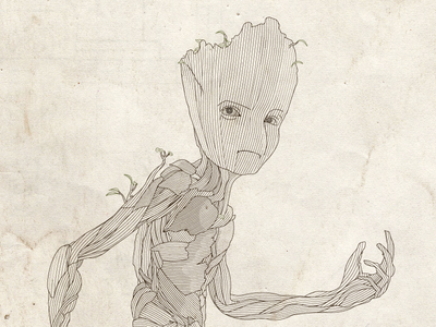Teen Groot Line Illustration