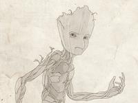 Teen Groot Line Illustration
