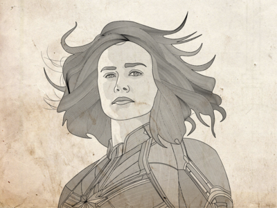 Captain Marvel Line Illustration