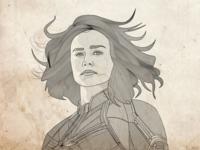 Captain Marvel Line Illustration