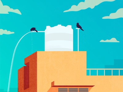 Thirsty Birds | Illustration concept curiouskurian digital art birds artist editorial art illustrator illustration