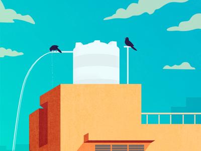 Thirsty Birds   Illustration concept curiouskurian digital art birds artist editorial art illustrator illustration