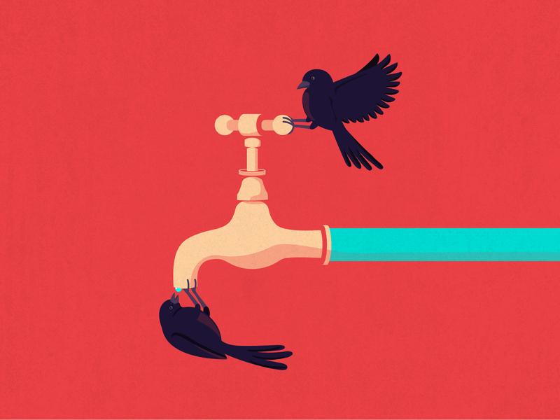 Thirsty Birds   Illustration 02 curiouskurian concept visual art digital art vector art illustration art illustrator editorial illustration