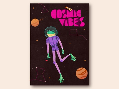 Cosmic Vibes! space cosmic spacefrog frog curiouskurian illustrator handlettering lettering illustration