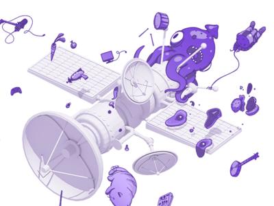 TwitchCon 2017 Call for Content Illustration squid c4d satellite collaboration collab 3d 2d illustration twitchcon twitch