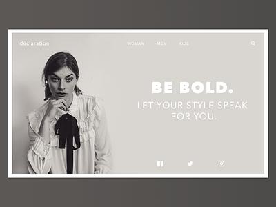 Declaration Landing Page website simple fashion homepage ui minimal design photoshop