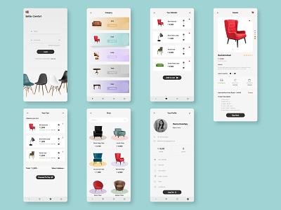 Furniture Mobile Application design userexperiencedesign userexperiance userinterface furniture app app app concept mobile app design binbytes agency branding ux ui design xd ux  ui uxdesign uidesign adobe xd