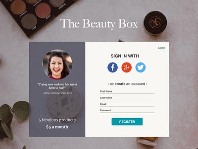Beautybox Signin signing signin page signin login design login page