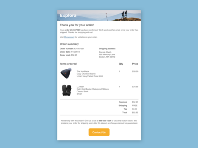 Daily UI Challenge - Day 17 - Email receipt