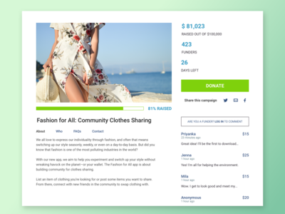Daily UI Challenge - Day 32 - Crowdfunding Campaign