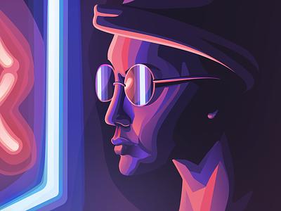Neon Night shadows light design ipadpro digital art shapes vector dark colorful neon illustration affinitydesigner