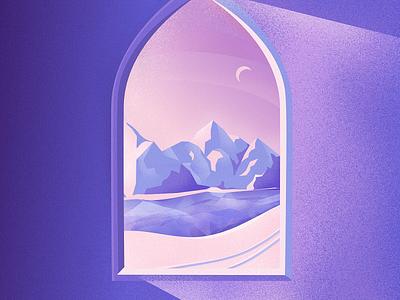 Winter Shelter digitalart digital brush weather cold warm purple window shadows noise grain shapes vector affinitydesigner art design illustration
