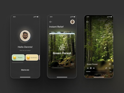 Relax & Meditation Mobile App Concept app glassmorphism uxui uiux concept dark interface design chill meditation relax nature userexperience ux userinterface ui