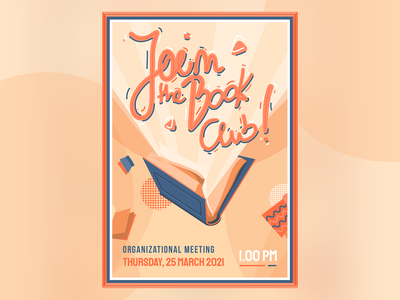 Join The Book Club - Poster dusty illustration club books applepencil ipadpro ipad affinitydesigner vector poster design dust colors poster