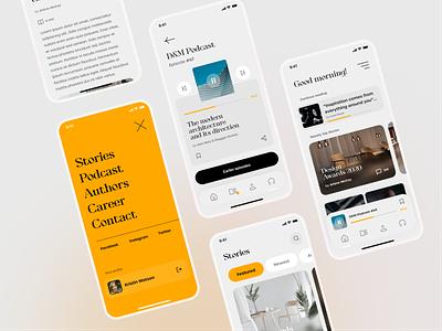 Architecture Design Blog Mobile App Concept #2 ui design ux blog concept figma design product design architecture listening podcast menu user interface ui