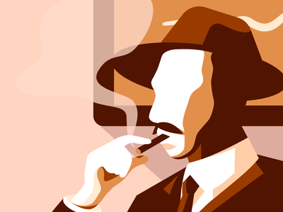 Cigarette Man moustache foggy oldschool cigarette light art affinitydesigner shapes vector design illustration