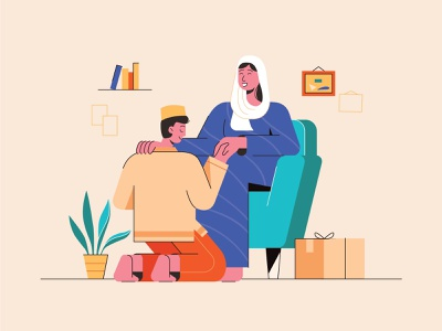 Ramadhan Illustration ✨ room vector parents family homecoming chair hijab muslim ramadhan plant furniture flat illustration
