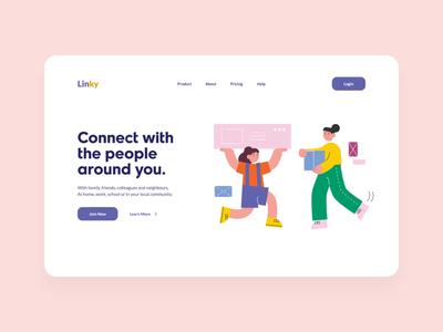 Linky Website (Animated) full color vector ui design hero web motion animation design flat header landingpage home illustration flat illustration friend ui website