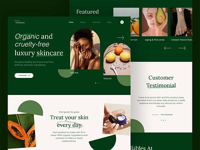 Greenery - Organic Skincare natural fruit skin skincare testimonial luxury organic web website typography logo branding ui home cosmetic hero green design landingpage header