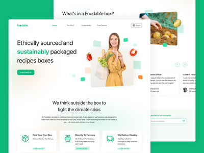 Foodable - Sustainable Food Delivery Website 3d animation flat vector illustration branding logo graphic design delivery box food design ui sustainable eco green hero landingpage header home