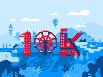 10K Followers! thank you 10000 folllowers follower flat  design illustration celebrate blue 10k