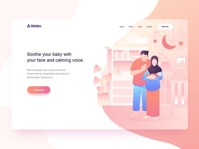 Baby monitoring - Landing Page home landingpage flat plant furniture flat style illustration header illustration room parents pink header family baby