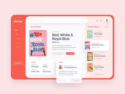 Bucoo - Books Store App book cover books reading dashboard design dashboard ui ui design user interface grid layout buy design flat app ui dashboard read book