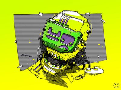 Acid futuristic drawing sketch lifework illustration manga comix character robots