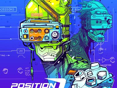 Position Zero futuristic comix logo robots illustrator design character